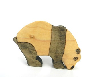 panda wooden toy, panda bear toy, waldorf animal toy, panda figurine, wood toy animal