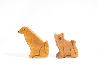 wooden waldorf cat and dog toys, eco friendly toys, waldorf animal toys