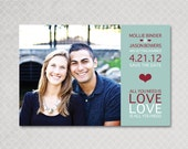 Modern Save the Date Magnet - All You Need is Love
