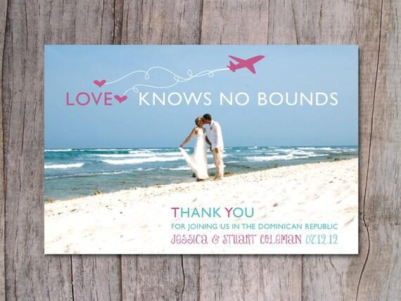 Items similar to Destination Wedding Thank You Card Beach Wedding – Destination Wedding Thank You Cards