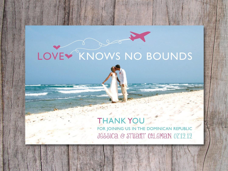 Destination Wedding Thank You Card Beach Wedding OnePaperHeart – Destination Wedding Thank You Card Wording