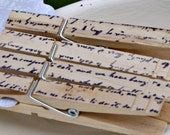 150 romantic script stamped clothespins, Wedding, Well wishes, escort cards, favors, place setting, name cards, escort cards