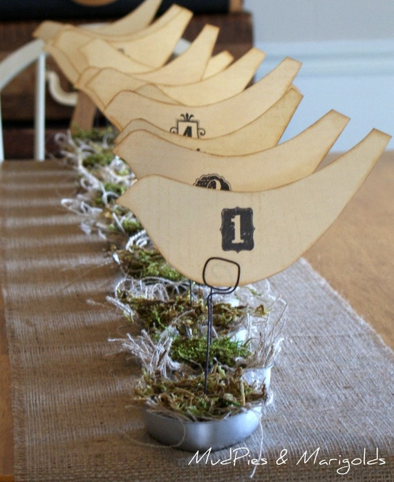 SALE, LAST Set of 12 Vintage Style Birds Nest table numbers, rustic, shabby chic, outdoor