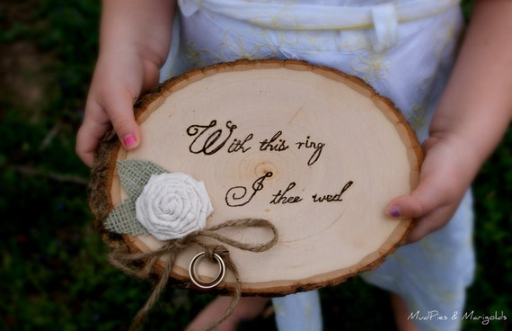 Rustic Tree Slice Ring Bearer Pillow, rustic ring pillow, with this ring I thee wed, woodland, shabby chic, outdoor, southern