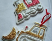 Train and Bulldozer Handmade and Hand Painted Christmas Ornaments