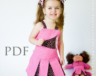 Girls Sewing Pattern, Sewing Patterns, Ruffle Top Corset Costume- PDF Sewing Pattern - Reversible, Girls & Dolls