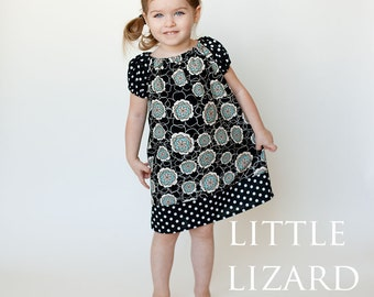 Peasant Dress SEWING PATTERN, Easy Dress Pattern, Girls Long/Short Sleeve Tunic Pattern, 6m-10, Brooke