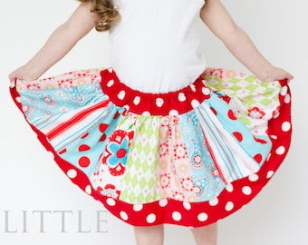 Girls Skirt PATTERN, Twirl Skirt Pattern, Easy Skirt Sewing Pattern, Girls and Dolls, 3m - 10, Twirl Skirt