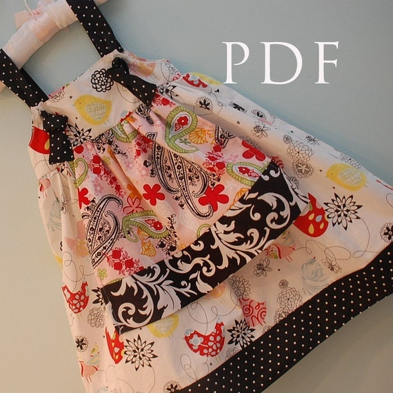 Apron Knot Dress PATTERN, Downloadable sewing tutorial and PDF instructions.