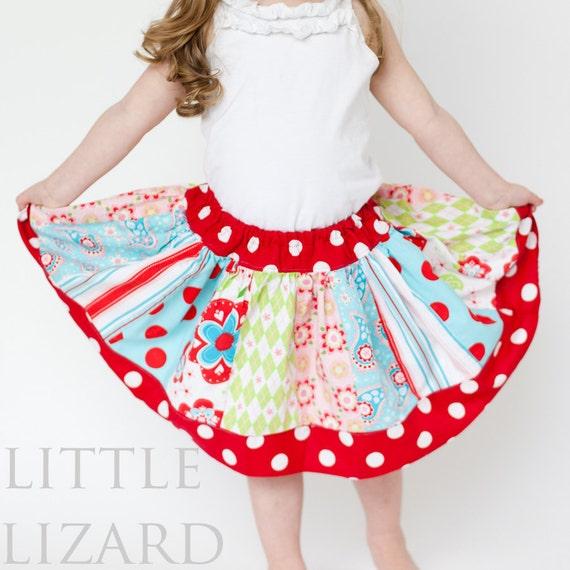 Girls Skirt PATTERN, Twirl Skirt Pattern, Easy Skirt Sewing Pattern, Girls and Dolls, 3m - 10, Twirl Skirt