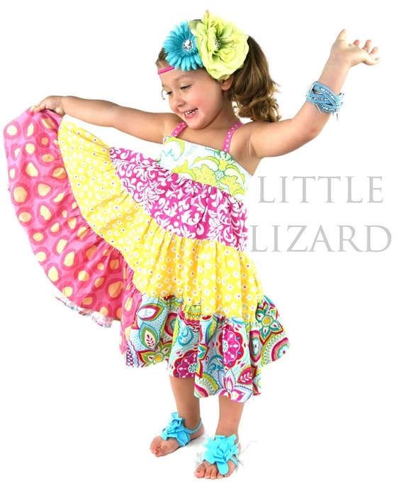Girls Tiered Twirly Dress Sewing Pattern By Littlelizardking