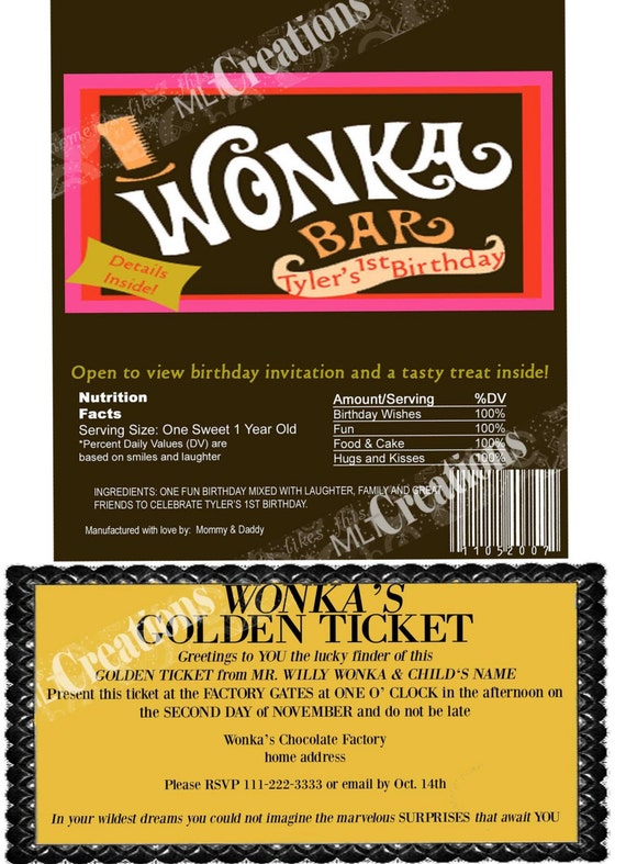 Willy Wonka Golden Ticket Invitation Candy Bar Wrapper Set of