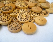 WB10137 - 13mm Floral Crafted Wood Buttons, 13mm Floral Crafted Wooden Buttons (6 in 1 set)