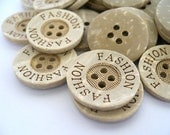 CB10076 - 20mm Fashion Wording Coconut Button, 20mm Fashion Wording Coconut Buttons (10 in 1 set)
