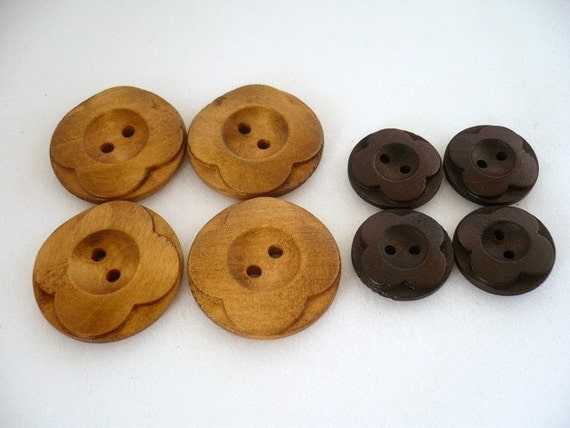 Lovely Flower Crafting Wood Buttons, Wooden Buttons, WBP09009 (8 in 1 set)