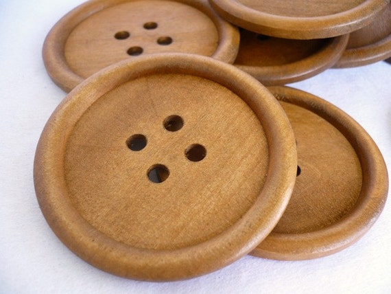 Wood button, Wooden Buttons, 60mm BIG Round, WB10179 (2 in  1set)