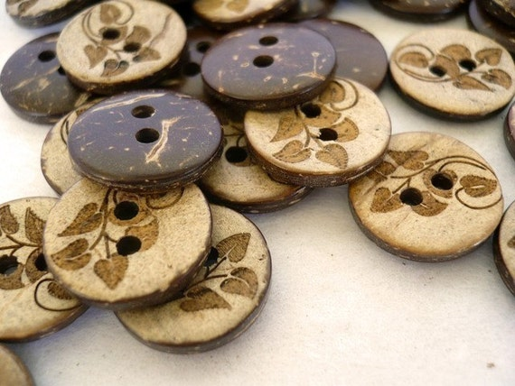 CB10006 - 15mm Leaf Crafted Coconut Button, Coconut Buttons (6 in 1 set)