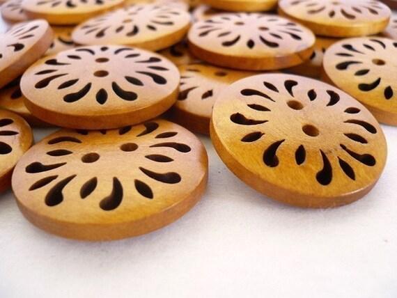 Big Wooden Buttons Pierced Flower Design, Large Pierced Flower Design Wood Buttons, WB10056 (4 in 1 set)