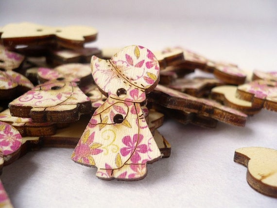 WB10082 - 18 x 28mm Little Sue with Her Pretty Dress Wood Buttons, Wooden Buttons (4 in 1 set)