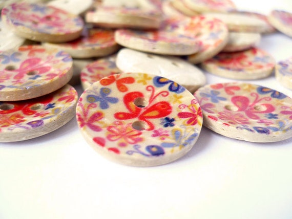 Butterfly Painted Design Coconut Shell Button, CB10054 (10 in 1 set)