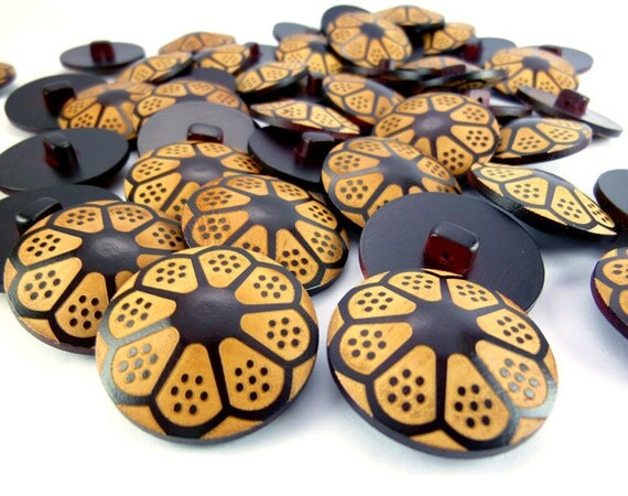 28mm Unique Umbrella Design Flower Crafted Wood Button, Wooden Buttons, WB11071 (4 in 1 set)