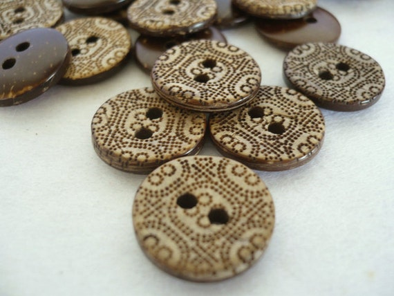 Crafted Coconut Buttons, Buttons, CB10016 (6 in 1 set)