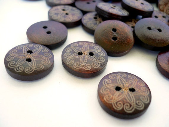 15mm Wood Buttons, Wooden Buttons - Crafted Design, WB10175 (6 in 1 set)