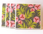 Ceramic Tile Coasters - Amy Butler Pink Passion Vines