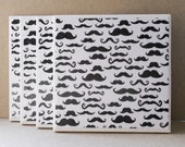 Handmade Decoupaged Coasters - Moustaches