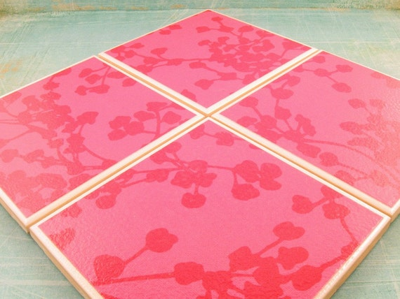 Coaster Set Amy Butler Pink Coriander