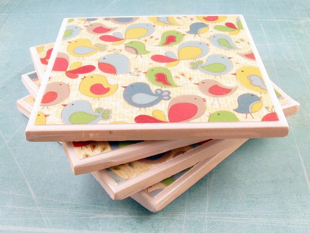 Ceramic Tile Coasters Cute Colorful Birds