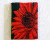 Red Dahlia Flower Original Mini Painting Refrigerator Art Magnet in red and black