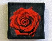 Red Rose Original Mini Flower Painting Refrigerator Art Magnet in red black gray