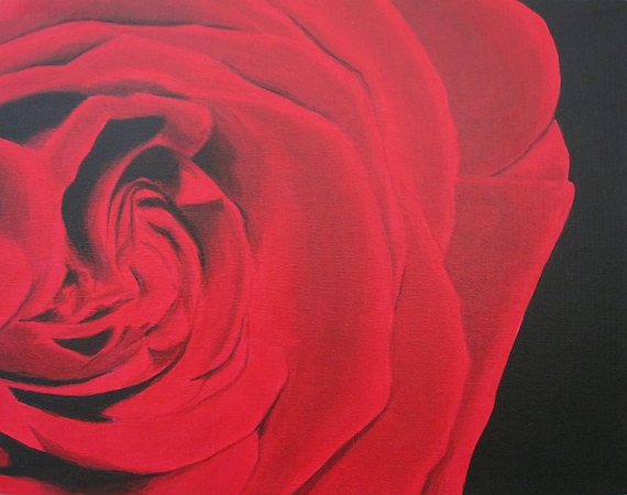 Red Rose Painting Fine Art Print 8x10