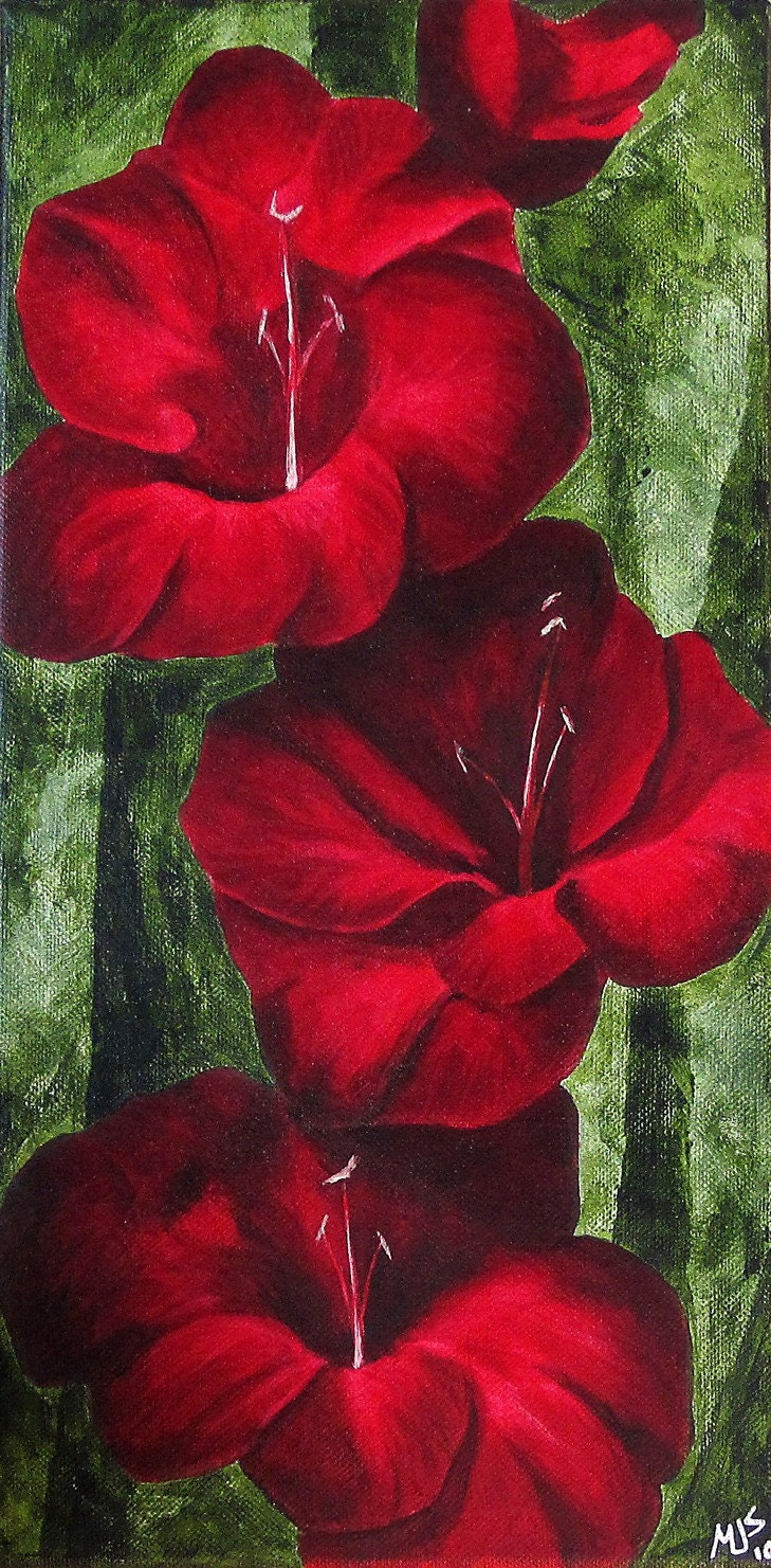 Red Gladiolus Flower Original Painting in red scarlet crimson