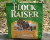 Recycled Feed Sack Duck Turkey Goose Green Reusable Shopping Bag Tote