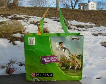 Recycled Feed Sack Green Dog Food Market Bag, Tote Bag or Purse with Short Handles