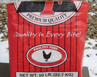 Recycled Feed Sack Chicken Food  Red Reusable Market Bag Tote Purse