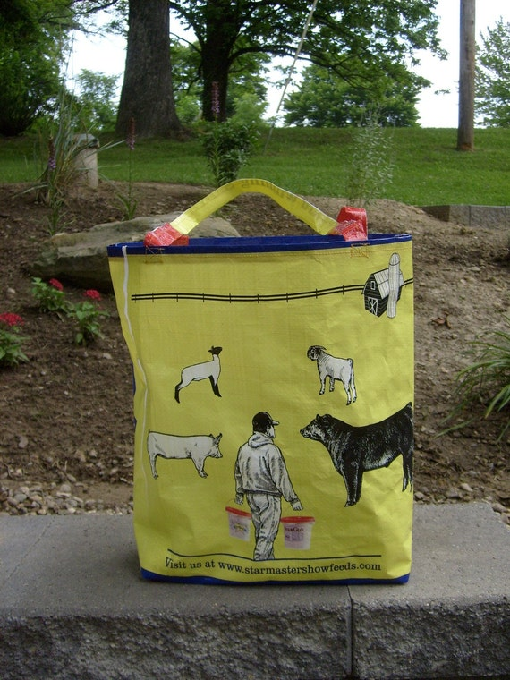 Recycled Livestock Feed Bag Market Bag, Tote, or Purse