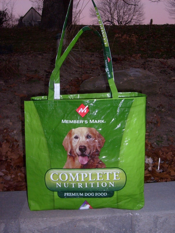 Recycled Feed Sack Retriever Green Reusable Market Bag Tote Purse