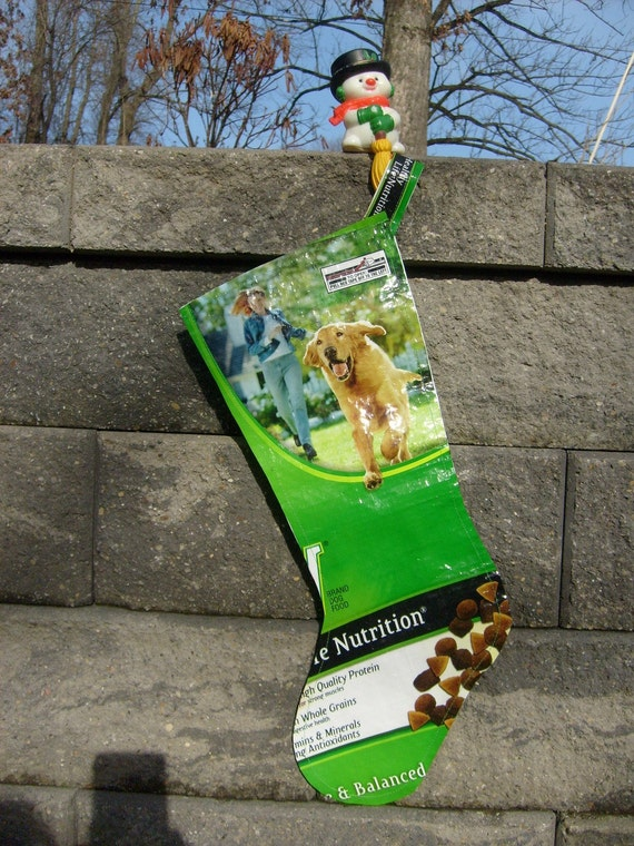 Christmas Stocking Recycled Feed Sack Dog Food Bag
