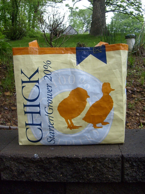 Recycled Feed Sack Chicken Duck Food Gold Market Bag, Purse, or Tote