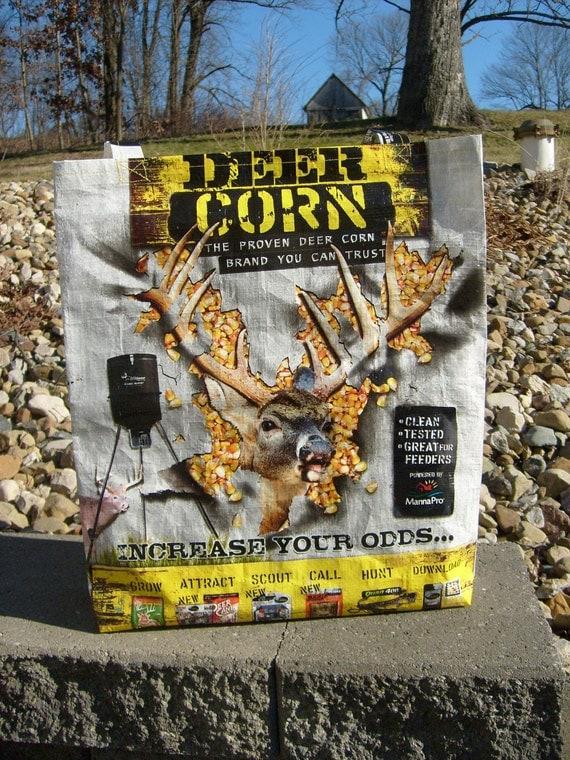 Recycled Feed Sack Deer Food Corn Buck Reusable Market Bag Tote Purse
