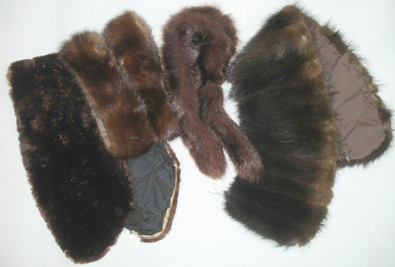 Vintage Fur Collar and Cuff Lot of 5 Pieces