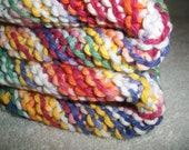 FREE Shipping-Set of Three-Two Hand Knit Dishcloths in Multi-Color and One Upcycled Scrubber