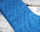Blue Knitted Unisex Scarf  Wool Blend