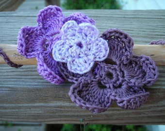 Purple Flower Crocheted  Bracelet or Anklet