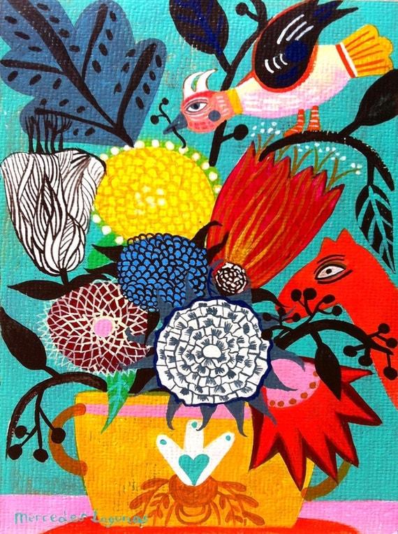 8,2 x 11,8 inches Original Art painting flowers. Birds art, butterfly art, bohemian art, folk art, naive art. Primitive art.