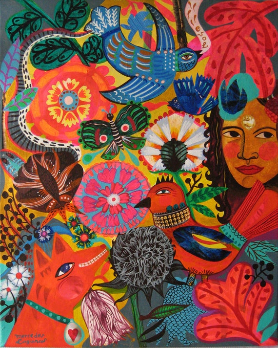 "Original flowers by artist Mercedes Lagunas. Flowers, birds, butterfly, bohemian, folk art,  naive art. ""Tahiti"""