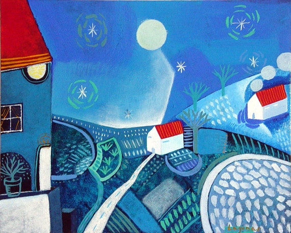 "Landscape N.3 - Original Art Painting, folk, naive, primitive, scandinavian art. Signed. ""Blue Night"""